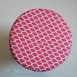 białe pufy taboret pufa różowe maroco - 36 cm