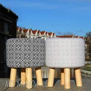 unikatowe stołek pufa szara mozaika - 36 cm