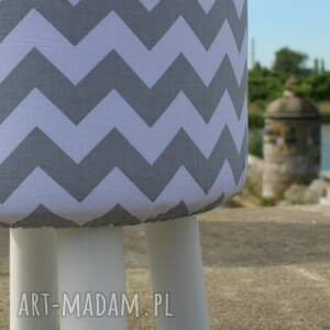 szare pufy stołek pufa szary zygzak - białe nogi 36