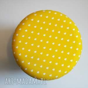 ręcznie zrobione pufy puf pufa żółte serduszka 2