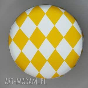 ręczne wykonanie puf pufa żółty arlekin 2