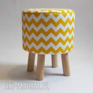 pufy stołek pufa żółty zygzak
