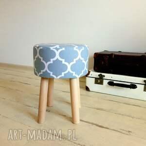 białe pufy taboret stołek fjerne m ( szara koniczyna )