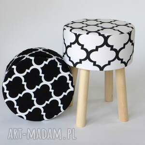 prezent pufy stołek fjerne m biało-czarna