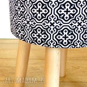 białe pufy stołek fjerne m ( czarne