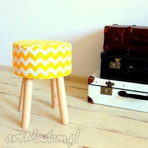 żółte pufy puf stołek fjerne m (żółte zygzaki)