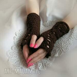 rękawiczki ażur ażurowe, brązowe mitenki