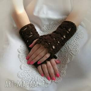 rękawiczki mitenki ażurowe, brązowe