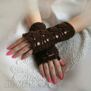 ażur rękawiczki ażurowe, brązowe mitenki
