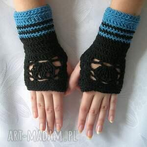 rękawiczki mitenki - ażurowe