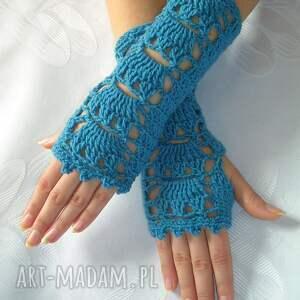 ręcznie wykonane rękawiczki ażurowe - mitenki