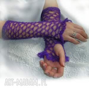 rękawiczki ażur ażurowe, wrzosowe mitenki