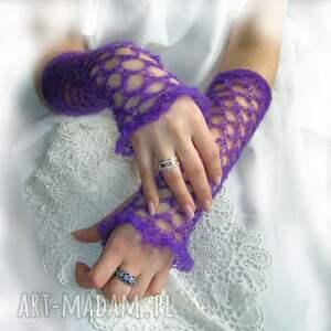 niesztampowe rękawiczki mitenki ażurowe, wrzosowe