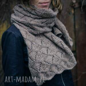 handmade rękawiczki dziergany beżowy szal
