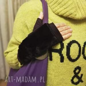 rękawiczki rekawiczki bezpalcowe z futerkiem