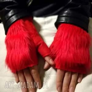 ręcznie wykonane rękawiczki rekawiczki bezpalcowe z futerkiem