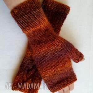 beżowe rękawiczki kolorowe brązowy melanż