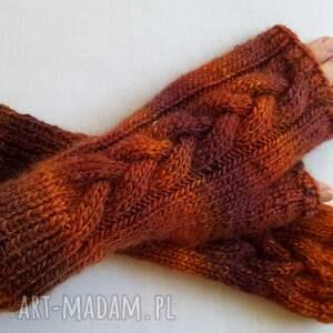 hand made rękawiczki kolorowe brązowy melanż