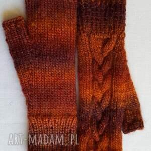 modne rękawiczki brązowy melanż