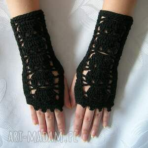 hand-made rękawiczki czarne ażurowe - mitenki