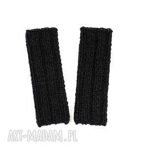 eleganckie rękawiczki czarne mitenki z wełną zrobione