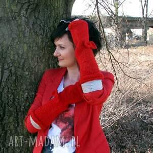 rękawiczki mitenki czerwone długie