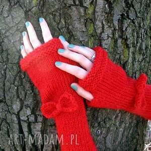 rękawiczki rekswiczki czerwone długie mitenki