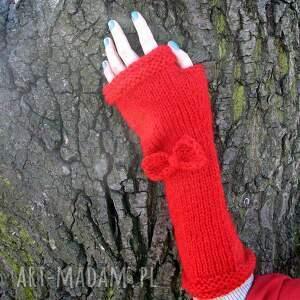 rekswiczki rękawiczki czerwone długie mitenki