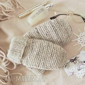 niesztampowe rękawiczki dwuwarstwowe jasno beżowe -
