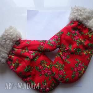 zielone rękawiczki zimowe folk design aneta