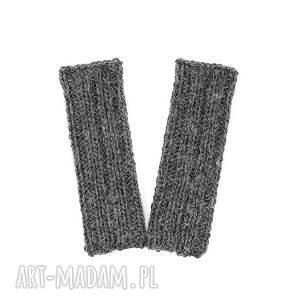 rękawiczki mitenki grafitowe z wełną zrobione