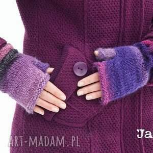 hand-made rękawiczki mitenki himalaya w fioletach