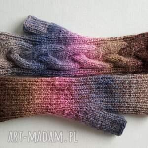 ciepłe rękawiczki tęczowy warkocz