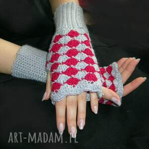 handmade rękawiczki mitenki malinowo-szare