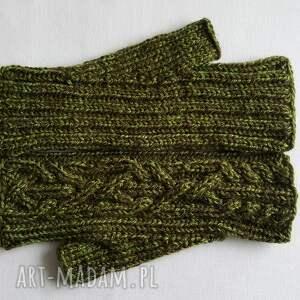 zielone rękawiczki modne melanż zielony