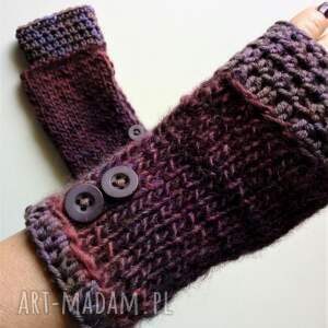 fioletowe rękawiczki mitenki