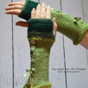The Wool Art - zielone mitenki