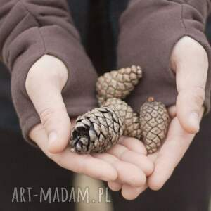 wyjątkowe rękawiczki mitenki - brązowe