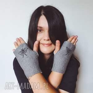 ćma rękawiczki szare mitenki