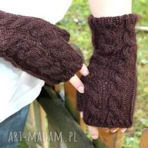 hand-made rękawiczki mitenki czekoladowe