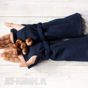 ciepłe rękawiczki mitenki - granatowe