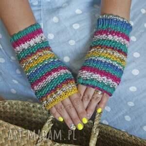 eleganckie rękawiczki miękkie mitenki kolorowe