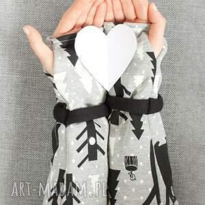 czarne rękawiczki ciepłe mitenki - leśne miśki