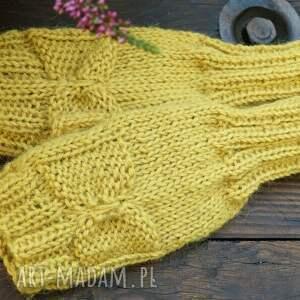 oryginalne rękawiczki mitenki musztardowe