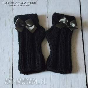 czarne rękawiczki mitenki