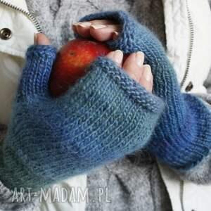 hand made rękawiczki ciepłe mitenki niebieskie ombre