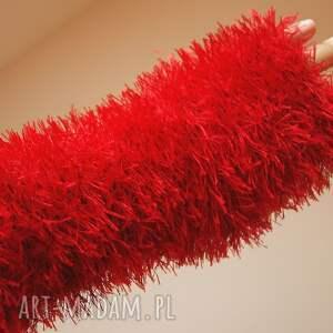 mitenki rękawiczki czerwone ocieplacze włochacze