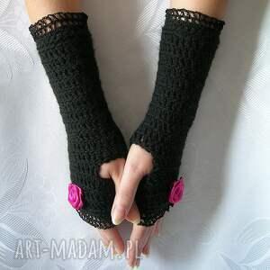 różowe rękawiczki mitenki - czarne