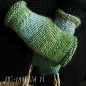 handmade rękawiczki druty mitenki ombre zielone