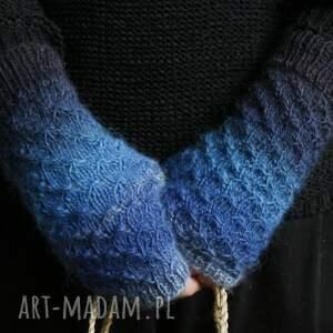 rękawiczki: Mitenki ombre niebieskie druty